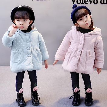 2017 Winter Snowsuit Promotion Real Chinese Korean Girls Cotton Cute Children's Jacket Warm Plus Thickening Hooded Coat