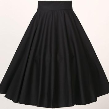 black red swing wear club long skirts high waist cotton vintage style clothes drop shipping saia femininas falda UK american 6xl
