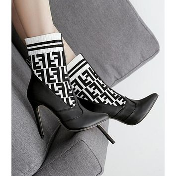 """FENDI"" Autumn Winter Newest Trending Woman Stylish F Letter Knit Socks Boots Pointed High-Heeled Shoes White/Black"
