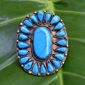 Big Zuni Navajo Style Ring,Petit Blue Turquoise Cluster Ring,Native American Ring,Ethnic Jewelry,Festival,Indian Flower Ring,Boho Gypsy Ring