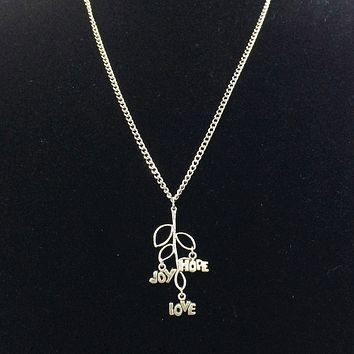 Silver Tree Branch Love, Joy, and Hope Charm Necklace