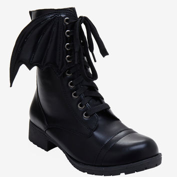 Black Bat Wing Combat Boot