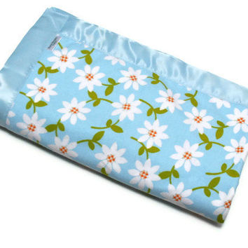 Flannel Baby Blanket for your Little Girl in Sage Minky and Blue Daises