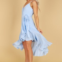 Wrap Ruffle Dress Light Blue