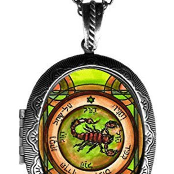 Solomons 5th Pentacle of Mars to Cause All Demons to Obey Xl Solid Perfume Locket Antique Silver