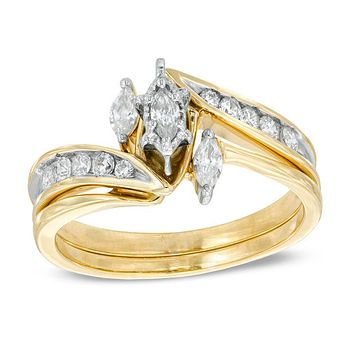 1/2 CT. Marquise Diamond Three Stone Bridal Engagement Ring Set in 14K Gold