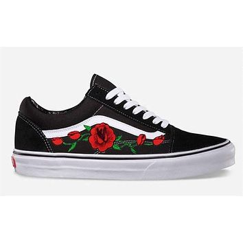 Rose Buds Custom Embroidered Vans Old Skool Skate Shoe (NEW) Trending Now
