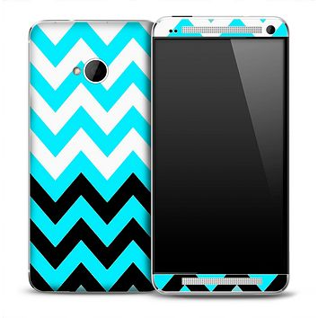 Large Turquoise V2 Black and White Chevron Pattern Skin for the HTC One Phone