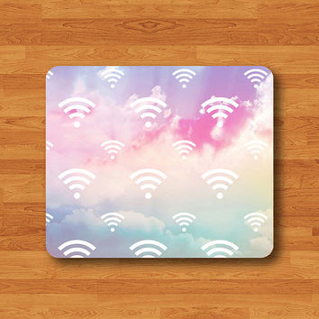 Sweet Cloud Wifi Sign Mouse Pad Love Pastel Printed Rubber MousePad For Girl Desk Deco Work Pad Mat Rectangle Personal Gift Hipster Teen Com