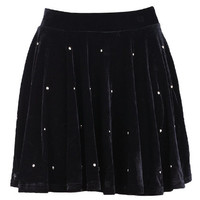 ROMWE | Beads Embellished Pleated Black Velvet Skirt, The Latest Street Fashion