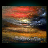 red cloud painting field painting large textured by mattsart