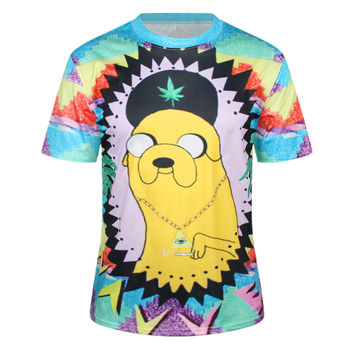 Print Cartoons Round-neck Permeable T-shirts [6049060609]