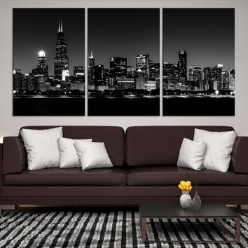 77027 - Chicago Wall Art Canvas Print - Extra Large Chicago City Night Canvas Print - Chicago Skyline Night Canvas Print