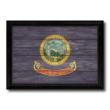 Idaho State Flag Texture Canvas Print with Black Picture Frame Home Decor Man Cave Wall Art Collectible Decoration Artwork Gifts