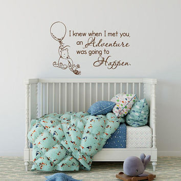 Classic Winnie The Pooh and Piglet Wall Decal - Winnie The Pooh I Knew When I Met You Baby Quote Wall Decal, Nursery Wall Decal Quote K53