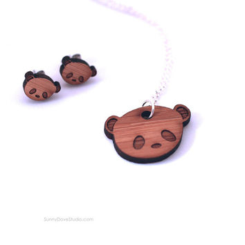 Panda Pendant Cute Bamboo Necklace Laser Cut Wood Wooden Animal Jewelry Fun Gifts Gift Ideas For Friends Teens Girls Her Sister Girlfriend