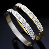 MMS Stainless steel 3 Layers Crystal Bracelet gold Plated Rhinestone Bangles Cuff Bracelet Screw Cuff Bangles