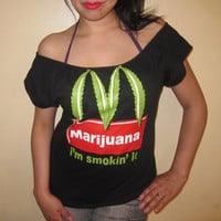 Ladies Custom DIY Marijuana McDonalds Funny Parody Im Smokin It Sexy Scoop Top - Medium