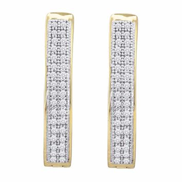 10kt Yellow Gold Womens Round Diamond Double Row Hoop Earrings 1/5 Cttw