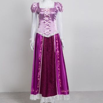 purple princess rapunzel dress cosplay adult costume for girls kids children tangled kid halloween costumes for women plus size