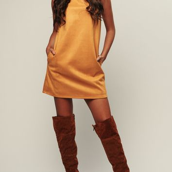 It's A Wonderful Life Faux Suede Dress (Mustard)