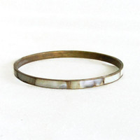 Mother of pearl vintage brass bracelet, 1960s hippie bangle, EXTREMELY THIN. Peace & love. Jewelry, head shop