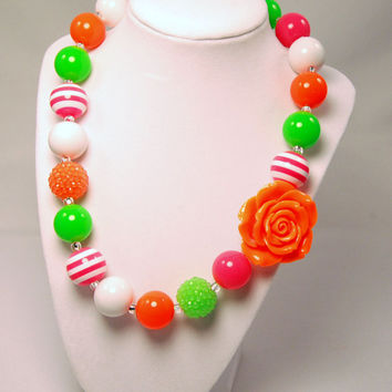 Girls Neon Boutique Jewelry Neon Green, Pink and orange Beaded Necklace Flower
