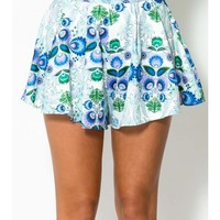 Magic In Me Shorts - Blue/Green Print - CLOTHING