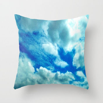Decorative Pillow Cover // Throw Pillow // Home Decor // Photo Pillow Cover // Heart // Clouds Sky // Blue White // Made To Order - #23