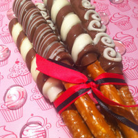 Gourmet Chocolate Covered Pretzle Rods One Dozen by NikkisTreats
