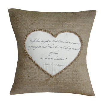 """Personalised Love Poem Quote Hessian Jute Burlap Canvas Pillow Cushion Cover 16"""""""