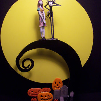 Nightmare Before Christmas Bride Groom Wedding Cake Topper Jack and Sally Full Moon