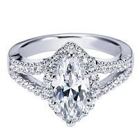 "Ben Garelick Royal Celebrations ""Celeste"" Marquise Cut Diamond Halo Engagement Ring"