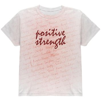 Inspirational Words Positive Strength All Over Youth T Shirt