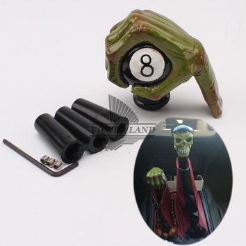 Skull Skulls Halloween Fall 1set Green  Hand Snoker 8 Ball Style Car Gear Knob Handles Gear Shift Knob Manual Shifter Shift Lever Knob Handbrake Covers Calavera