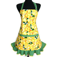 Lemon Apron with Ruffles , Green and White Polka dot trim , Retro Kitchen Decor
