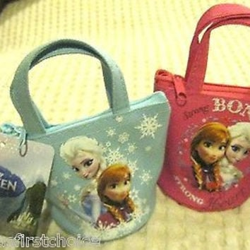 Disney Frozen Anna and Elsa Hot Pink & Light Blue Coin Cases Containers-New!