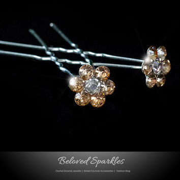Stella - 1 Champagne Peach Flower Hair Stick Pin | Rhinestone