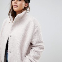 ASOS CURVE Oversized Coat with Funnel Neck at asos.com