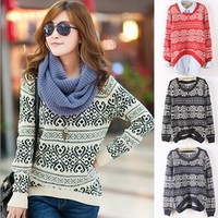 Women Knitted Geometric Pattern Casual Loose Sweater Pullover Thick Outwear Tops