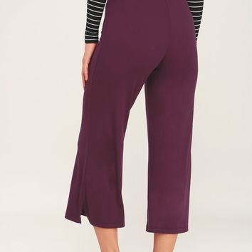 Round Trip Plum Purple Ribbed Cropped Wide-Leg Pants