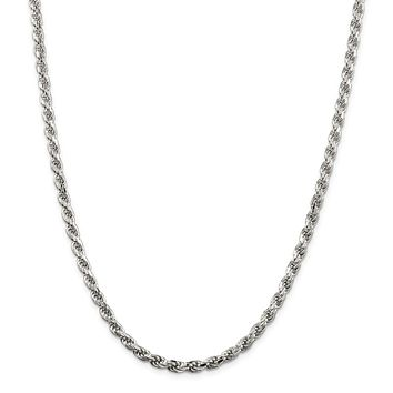 925 Sterling Silver 4.75mm Diamond-cut Rope Chain Necklace, Bracelet or Anklet