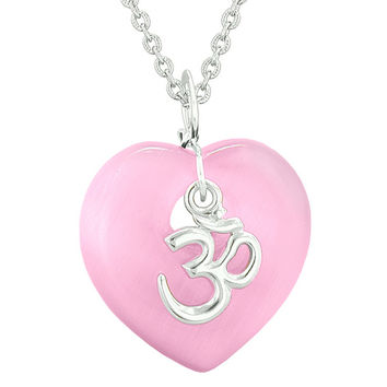 Ancient Tibetan OM Inspirational Amulet Magic Heart Pink Simulated Cats Eye Pendant 18 inch Necklace