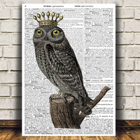 Animal poster Owl print Dictionary print Bird decor RTA1127