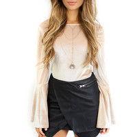 After Party Taupe Corduroy Velvet bodysuit