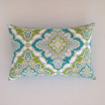 Outdoor cushion - teal turquoise & lime decorative designer lumbar cushion cover - FREE SHIPPING Australia wide