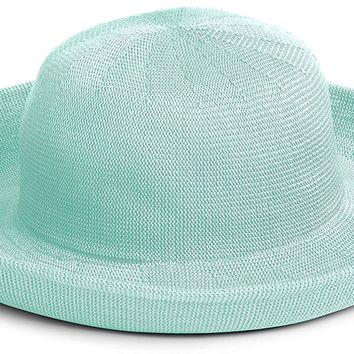 Scala Women's Knitted Poly Straw Big Brim Hat