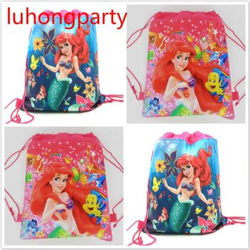 20pcs 34*27cm little Mermaid non-woven fabrics drawstring backpack Gift bag for kids Birthday Party Favor