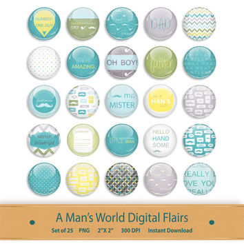 Scrapbook Flairs Brads Kit Graphics Clipart Printable Photo Button Badges Digital Scrapbooking Clip Art Planner Stickers Blue Green Yellow