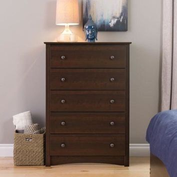 5 Drawer Dresser Storage Furniture Modern Bedroom Espresso Cabinet Armoire Brown